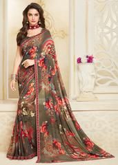 Mud Color Georgette Party Wear Sarees : Mankit Collection YF-64645 Floral Print Sarees, Printed Sarees, Floral Prints, Laxmipati Sarees, Georgette Fabric, Casual Saree, Chiffon Saree, Party Wear Sarees, Beautiful Saree
