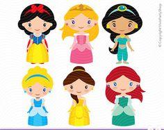 PRINCESSES Clipart, Printable, Instant download, PNG files, princess clipart, frozen, elsa, anna, mulan, tiana, rapunzel, alice C#019  ♥ This