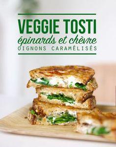 Tosti (grilled cheese) aux épinards, chèvre et oignons caramélisés - Mango & Salt
