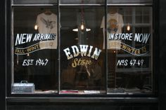 Ornamental Conifer - Edwin Store / New Arrivals Reverse Glass lettering Window Signage, Signage Display, Pub Design, Retail Design, Logo Design, Painted Letters, Hand Painted Signs, Sign Image, Beer Poster