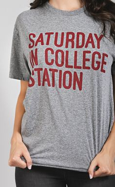 our saturday in college station tee is made to order! we will ship your entire order in 5-12 business days. if you have any questions, please e-mail us at hello@shopriffraff.com. show some pride for y