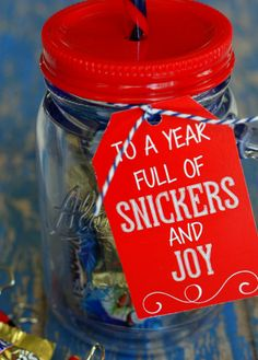 """Here's a fun idea for a """"Happy New Year"""" teacher gift:  (fill with mini Snickers and Almond Joy candy bars)"""