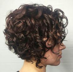 60 Styles and Cuts for Naturally Curly Hair - Short Stacked Curly Bob You are in the right place about dyed hair Here we offer you the most beaut - Thin Curly Hair, Curly Hair Styles, Curly Hair With Bangs, Short Wavy Hair, Curly Girl, Bob Haircut Curly, Haircuts For Curly Hair, Short Bob Hairstyles, Wedding Hairstyles