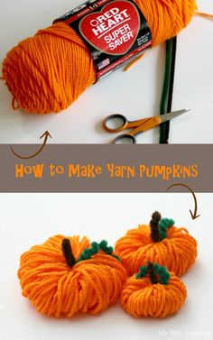 How to make yarn pumpkins yarn crafts for kids, fall crafts, ho Autumn Crafts, Thanksgiving Crafts, Holiday Crafts, Fall Halloween, Halloween Crafts, Group Halloween, Halloween Patterns, Helloween Party, Yarn Crafts For Kids