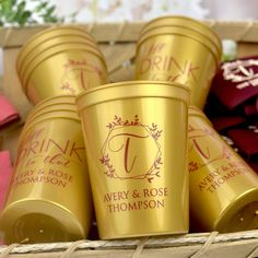 Available in 23 color options, these reusable plastic cups are custom printed with your married last name initial within an elegant geometric wreath design on the front, and your choice of personalization on the back.