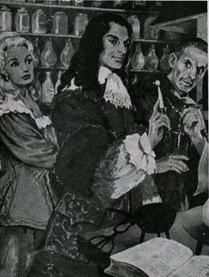 Count de Peyrac in his laboratory in Toulouse (with monk Bécher and Angélique)