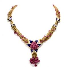 Vintage Giovane Ruby Diamond Enamel 18K Gold Multi Chain Necklace  #vintagejewelry #diamonds #necklace #gold #ruby #consignment