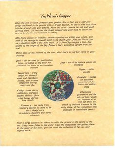 Book of Shadows page about How to Plant a Witch's Garden. $3.00, via Etsy.