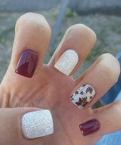 Fall Nails Maroon & leaves
