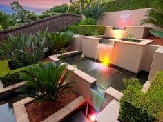 Garden Design, Modern Pond Design With Waterfall Decoration With Lighting:  Beautiful Garden Feel Fresh With Fish Pond Ideas