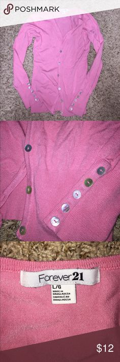 Forever 21 pink v-neck cardigan with shell buttons Forever 21 v-neck pink cardigan with mermaid shell buttons - to button up front and as decor on sleeves! Size L. Thanks for looking! Forever 21 Sweaters Cardigans