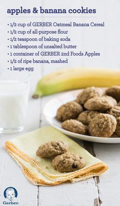 You'll feel good about giving your toddler these Apples and Bananas Cookies to snack on. Iron-rich GERBER Oatmeal Banana Cereal adds nutrients and flavor to the cookie dough. Soft, chewy and naturally sweet—these cookies are a nutritious and delicious treat your child will love.
