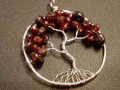 Garnet Tree of Life Pendant by OddsAndEndsByKaley on Etsy, $20.00