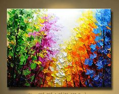 Abstract Wall Painting,Palette Knife Abstract Painting,Textured Painting,,Landscape Painting, Colourful tree Painting on Canvas, by Chen 66
