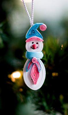 Muñeco de nieve ornamento árbol de navidad por ofthingspretty