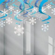 Blue Snowflake Hanging Swirls - (pack of Hanging christmas decorations, snowflake decorations, christmas party decorations - Happy Christmas - Noel 2020 ideas-Happy New Year-Christmas Christmas Ceiling Decorations, Snowflake Decorations, Valentines Day Decorations, Decorating With Snowflakes, Diy Christmas Snowflakes, Snowflake Craft, Christmas Crafts, Snowflake Party, Origami Christmas