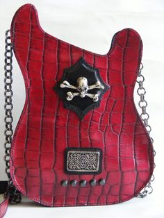 Leather purse. Red Handmade Eco Sustainable Leather Bag. Skull Guitar Shaped Bag. Strato Bag. Faux Crocodile Leather Purse. Made to order