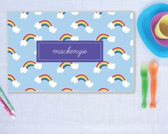 Rainbow Personalize Placemat for Kids | Laminated Placemat | Meredith Collie Paper