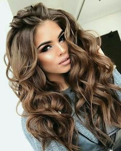 ABOUT THE PRODUCT Hair Color:Dark brown Weight: (depends on the length of the hair) Hair Color: Same as images Cap Construction: Silk Top Glueless Front Cap Base Material: French… Perfect Curls, Brown Hair Colors, Hair Colour, Level 5 Hair Color, Brunette Hair, Long Brunette, Brunette Color, Great Hair, Pretty Hairstyles
