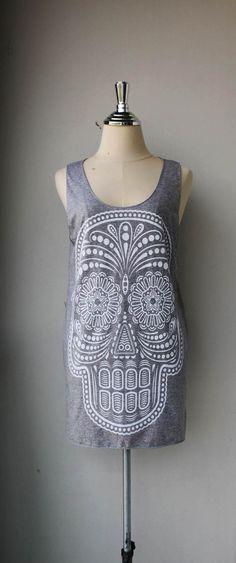White Ancient Art Skull Print on Gray Long Tank Top by Tshirt99, $15.99