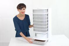 Founder of Livin Farms Katharina Unger displays her stylish mealworm harvesting kit, the Hive. (Courtesy Photo)