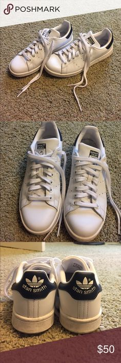 Adidas Stan Smith shoes White Stan Smith Adidas shoes. Navy detailing. Men's size 6. Women's size 7.5. Great condition! These have only been worn a few times. Shoes Sneakers