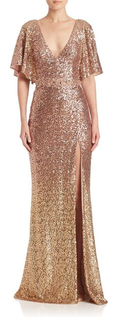 Sequin embellished gown by Marchesa Notte. Allover sequins lend a polished finish to this gownPlunging V-neck and backFlutter sleevesOff-center slitConcealed ba...