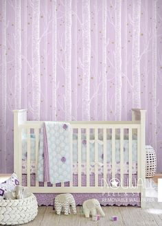 White Birch Tree On Pale purple pink Background with by NouWall
