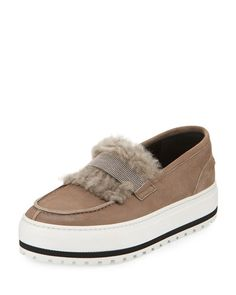 X38DH Brunello Cucinelli Fur-Trim Monili Platform Sneaker, Brown