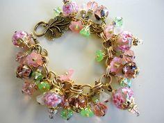 Miriam Haskell Brass Swarovski Crystal Charm Bracelet