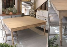 prod533 large square 19c French table in beech and elm - lantiques