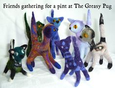 Pocket Cat, Needle Felted Cat, Felt Cat, Cattery, No Plastic, Misfits, Pick One, Wool Felt, Pugs