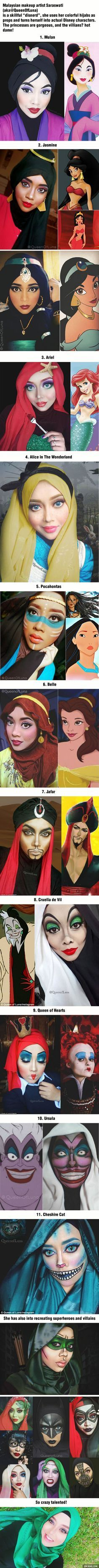 Malaysian Makeup Artist Saraswati (@QueenofLuna) transforms into stunning Disney characters using her hijab ~ her idea is amazing! And she looks stunning indeed