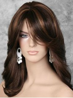 Trends Sexy Women Wig Mix Brown Highlighting Medium Wavy Synthetic Hair for sale online Medium Hair Styles, Curly Hair Styles, Hair Color Highlights, Long Hair Cuts, Layered Hair, Wig Hairstyles, Updo Hairstyle, Bride Hairstyles, Hairstyle Ideas