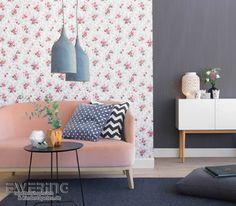 Rasch Textil Petite Fleur 3 13 Rote Blümchen Und Streifen In Anthrazit  Wirken Als Mustertapete Schick Im Wohnzimmer.