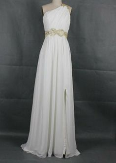 New Arrival Beach One-shoulder Floor-length Chiffon Sashes Long Prom/Evening/Party/Homecoming/Bridesmaid/Cocktail/Formal Dress 2013. $78.00, via Etsy.