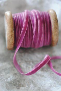 Raspberry velvet roll of Ribbon Velvet Ribbon, Pink Velvet, Silk Ribbon, Rose Bonbon, Textiles, Everything Pink, Shades Of Purple, Magenta, Haberdashery