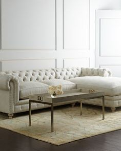 Shop Warner Linen Sectional Sofa, Left-Arm Facing at Horchow, where you'll find new lower shipping on hundreds of home furnishings and gifts. Settee Sofa, Tufted Sofa, Sofa Design, Interior Design, Linen Couch, Old Sofa, Modern Sectional, Sectional Sofas, Couches