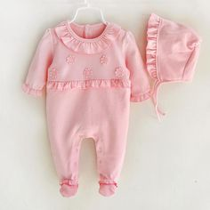 It Can't Get Sweeter Than This: Baby Girls Cute F... Check it out here! http://thepalmbeachbaby.com/products/baby-girls-cute-frilly-pink-long-sleeved-jumpsuit-bonnet-set?utm_campaign=social_autopilot&utm_source=pin&utm_medium=pin