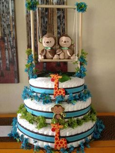 Twin Baby Shower. Jungle Theme, Turquoise, Lime Green and Brown Diaper Cake.  Created by Cyd Haltom