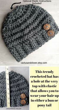 Chunky ribs run the circumference of this beanie. Made with bulky yarn and a larger crochet hook. For pony/bun but can make it without the opening too