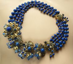 Vintage MIRIAM HASKELL Sapphire Blue Crystal Art Glass Art Deco Runway Necklace