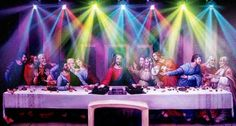 They turned a famous painting into a party by adding lights and dj equipment, and by giving the overall image a slight hue.