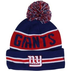 e20ece459 New Era New York Giants The Coach Cuffed Knit Beanie with Pom - Royal  Blue Red