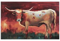 Large Bull With Horns Stretched Canvas