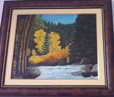 Magnífica óleo sobre tela - HANDMADE ART- <br>com moldura trabalhada em madeira .