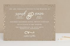 """Starlight"" - Foil-pressed Wedding Invitations in Kraft by Saltwater Designs."