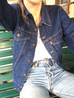 Vintage Levis Denim Jacket, Levi Denim Jacket, Dark Denim Jeans, Blue Jeans, Skinny Jeans, Work Wear, Size 14, Wide Leg, Indigo