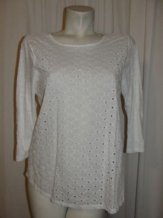 LUCKY BRAND Womens Top White Eyelet Front Cotton 3/4 Sleeve Pullover Shirt Sz L #LuckyBrand #KnitTop #Casual