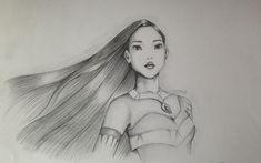 Disney Pocahontas, Pocahontas Drawing, Disney Princess Sketches, Disney Sketches, Disney Pencil Drawings, Art Drawings Sketches, Pencil Art, Arte Disney, Disney Fan Art